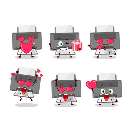 Printer cartoon character with love cute emoticon