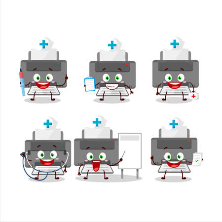 Doctor profession emoticon with printer cartoon character