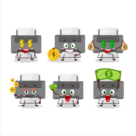 Printer cartoon character with cute emoticon bring money