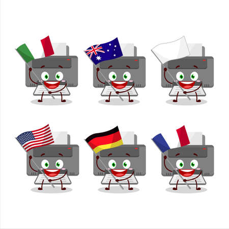 Printer cartoon character bring the flags of various countries