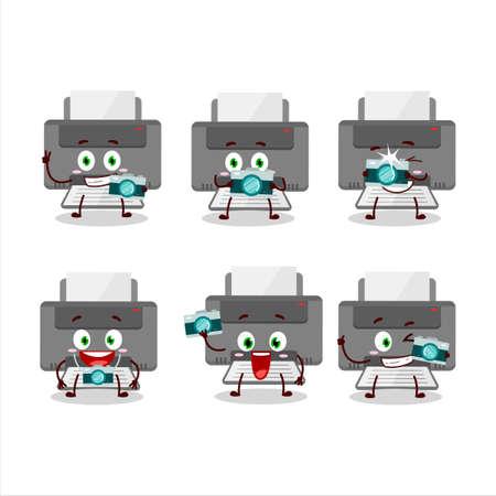 Photographer profession emoticon with printer cartoon character 向量圖像