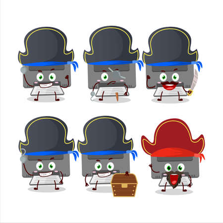 Cartoon character of printer with various pirates emoticons