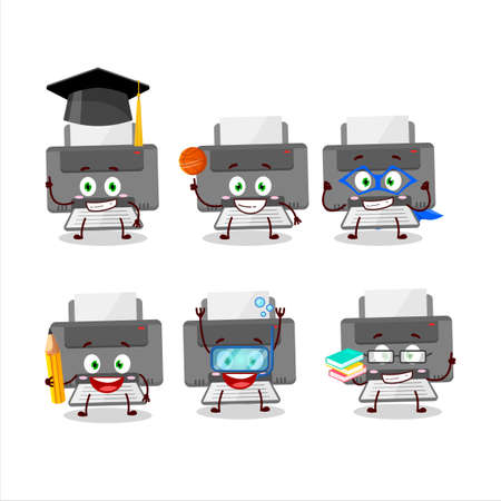 School student of printer cartoon character with various expressions