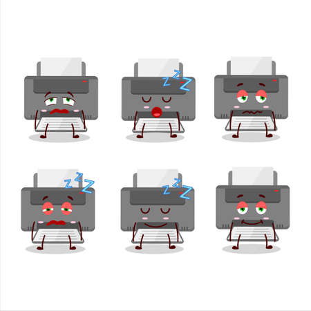Cartoon character of printer with sleepy expression