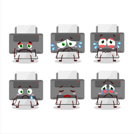 Printer cartoon character with the sad expression