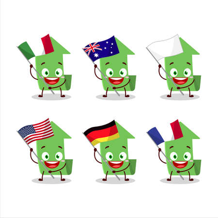Arrow up cartoon character bring the flags of various countries