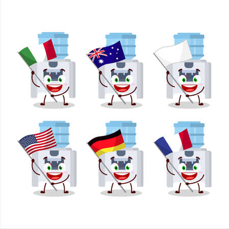 Water cooler cartoon character bring the flags of various countries Vettoriali