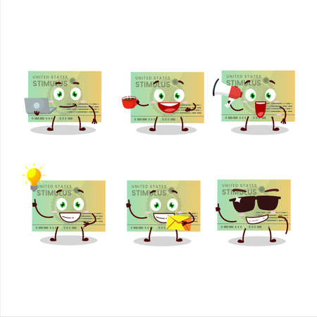 Stimulsus check cartoon character with various types of business emoticons