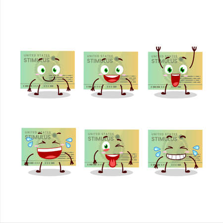Cartoon character of stimulsus check with smile expression Vectores