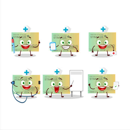 Doctor profession emoticon with stimulsus check cartoon character