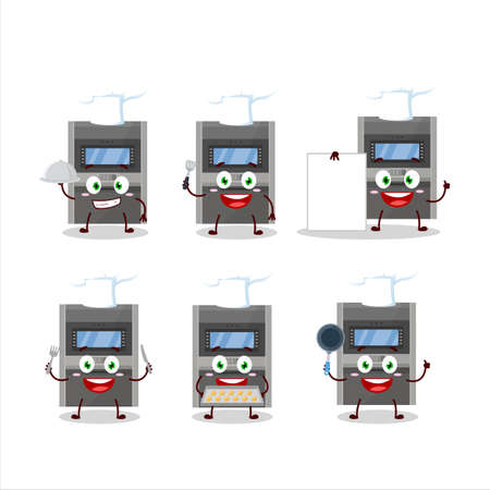 Cartoon character of atm machine with various chef emoticons