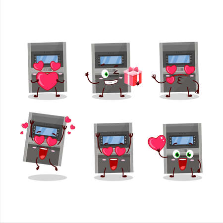 Atm machine cartoon character with love cute emoticon