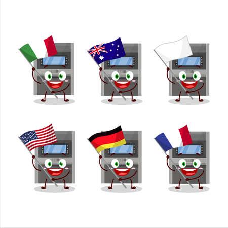 Atm machine cartoon character bring the flags of various countries Illusztráció
