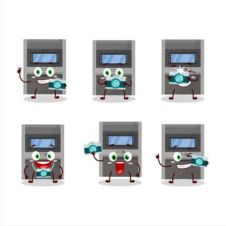 Photographer profession emoticon with atm machine cartoon character