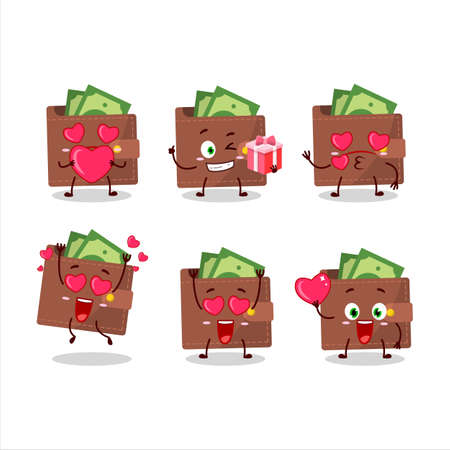 Brown wallet cartoon character with love cute emoticon