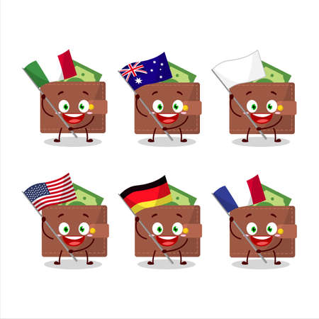 Brown wallet cartoon character bring the flags of various countries