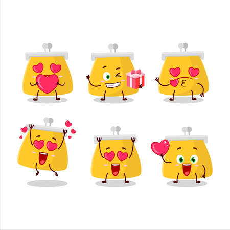 Coin purse cartoon character with love cute emoticon