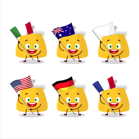 Coin purse cartoon character bring the flags of various countries