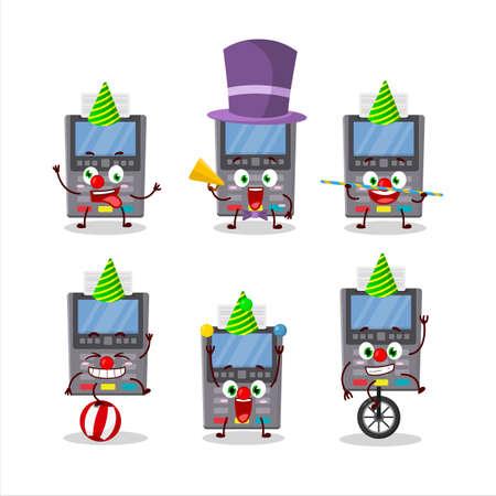 Cartoon character of grey payment terminal with various circus shows