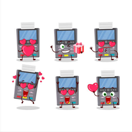 Grey payment terminal cartoon character with love cute emoticon