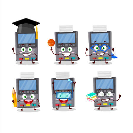School student of grey payment terminal cartoon character with various expressions