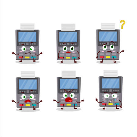 Cartoon character of grey payment terminal with what expression