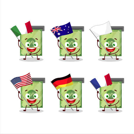 Money slot cartoon character bring the flags of various countries