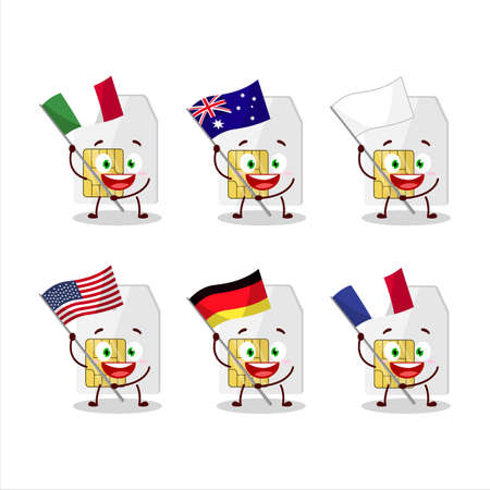 Sim card cartoon character bring the flags of various countries