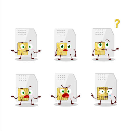 Cartoon character of sim card with what expression Illusztráció