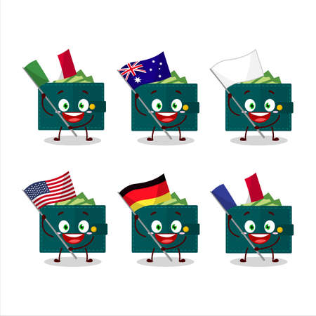 Green wallet cartoon character bring the flags of various countries
