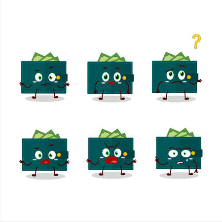 Cartoon character of green wallet with what expression