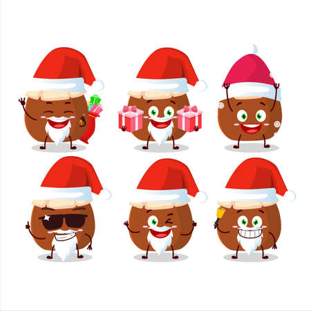 Santa Claus emoticons with brown honey jar cartoon character