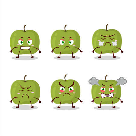 Green apple cartoon character with various angry expressions Vettoriali