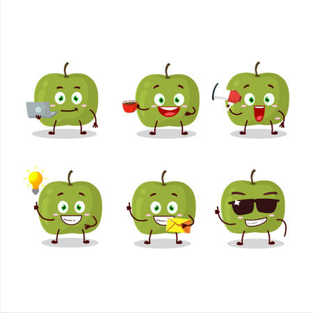 Green apple cartoon character with various types of business emoticons