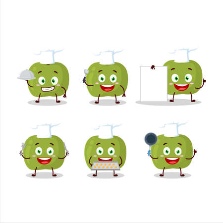 Cartoon character of green apple with various chef emoticons