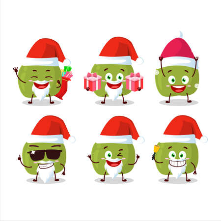 Santa Claus emoticons with green apple cartoon character Vettoriali
