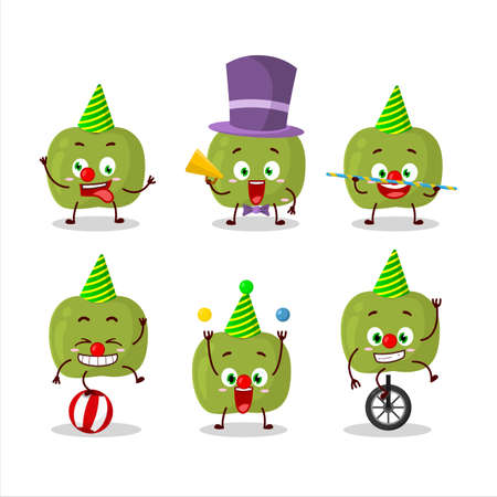 Cartoon character of green apple with various circus shows