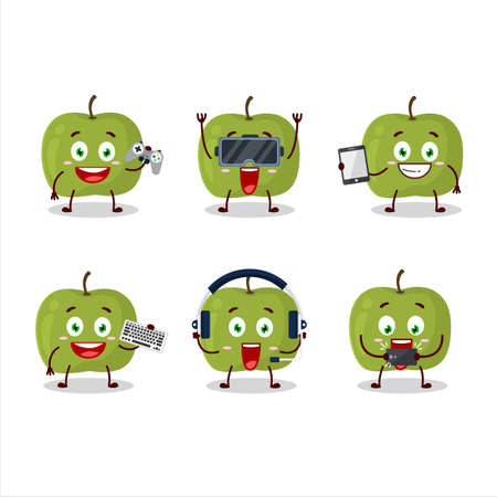 Green apple cartoon character are playing games with various cute emoticons