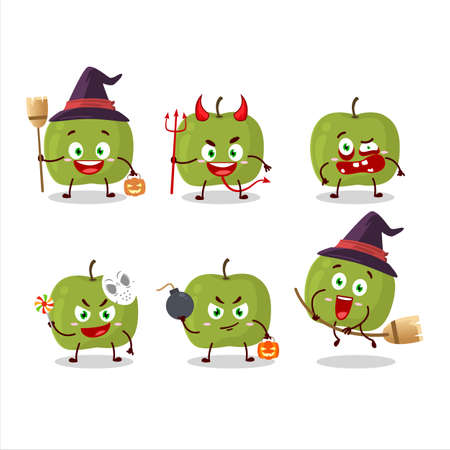 Halloween expression emoticons with cartoon character of green apple