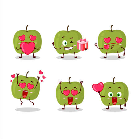 Green apple cartoon character with love cute emoticon