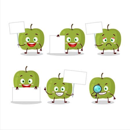 Green apple cartoon character bring information board