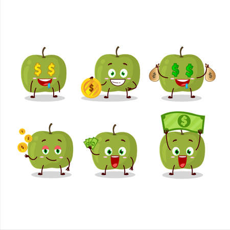 Green apple cartoon character with cute emoticon bring money