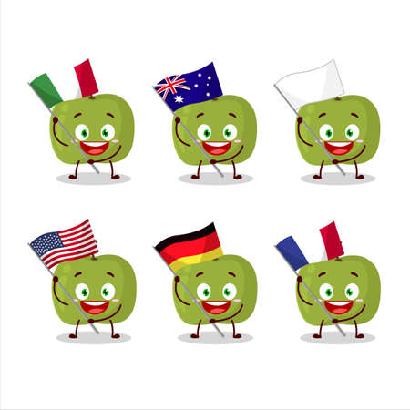 Green apple cartoon character bring the flags of various countries