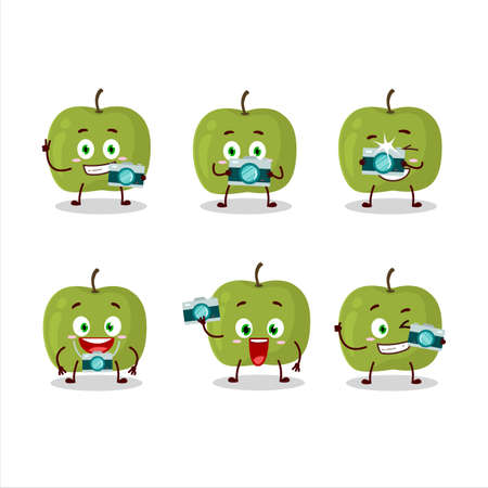 Photographer profession emoticon with green apple cartoon character Vettoriali