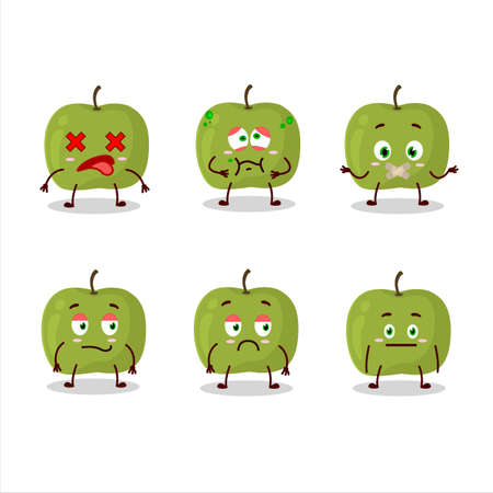 Green apple cartoon character with nope expression Vettoriali