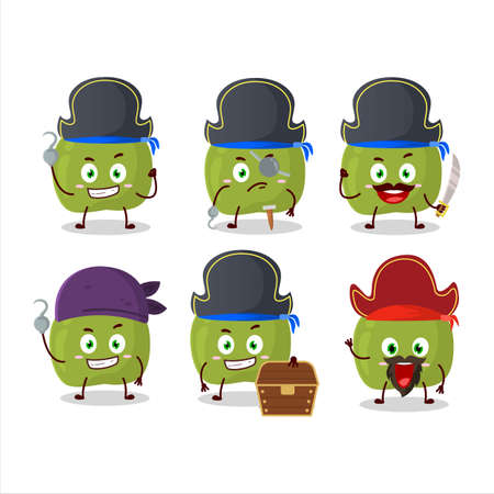 Cartoon character of green apple with various pirates emoticons