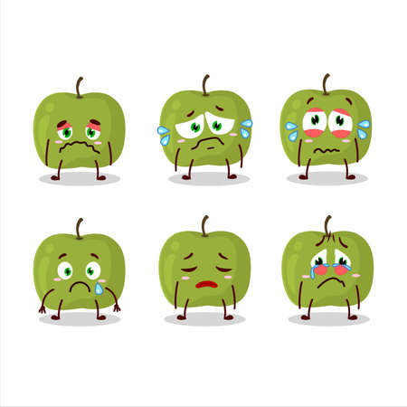 Green apple cartoon character with sad expression Vettoriali