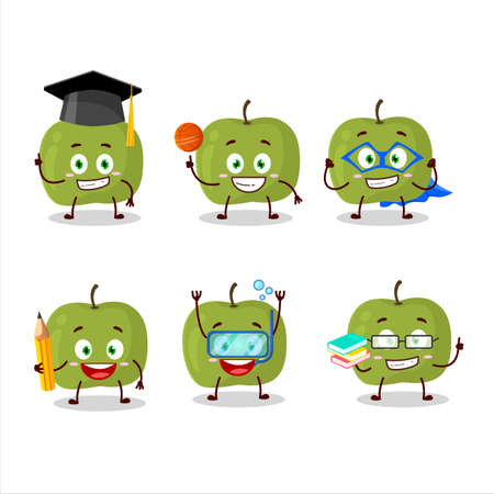 School student of green apple cartoon character with various expressions