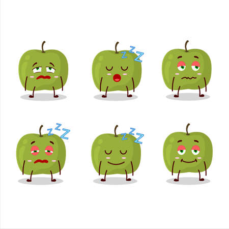 Cartoon character of green apple with sleepy expression