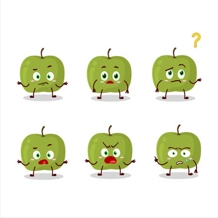 Cartoon character of green apple with what expression Vettoriali